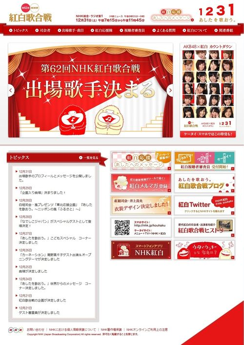 2011.12.31 62ème NHK Kohaku Uta Gassen 01